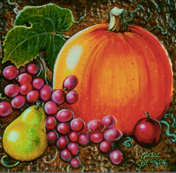 still life picture of pumpkin and grapes by Elaine Bawden